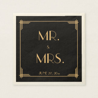 Black Great Gatsby Art Deco Wedding Napkins