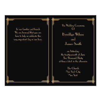 Black Great Gatsby Art Deco Wedding Program