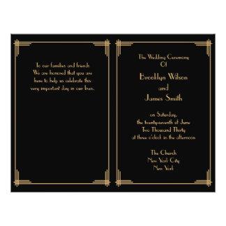"Black Great Gatsby Art Deco Wedding Program 8.5"" X 11"" Flyer"