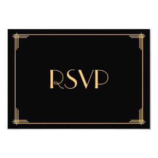 Black Great Gatsby Art Deco Wedding RSVP Card