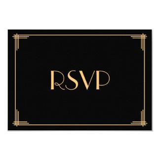 Black Great Gatsby Art Deco Wedding RSVP Card