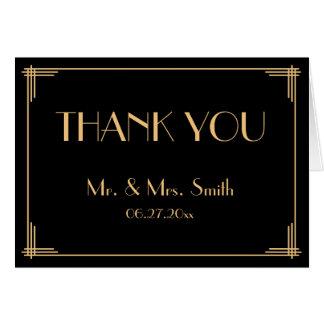 Black Great Gatsby Art Deco Wedding Thank You Card