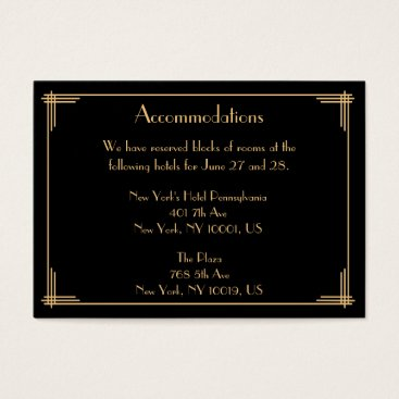 Professional Business Black Great Gatsby Wedding Accommodation Cards