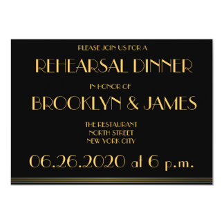 Black Great Gatsby Wedding Rehearsal Invitations