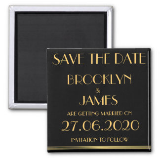 Black Great Gatsby Wedding Save The Date Magnet