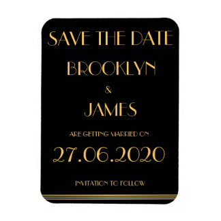 Black Great Gatsby Wedding Save The Date Magnets