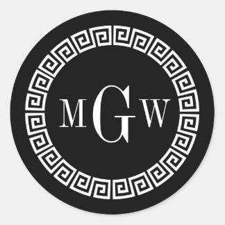 Black Greek Key Monogram Envelope Seal Favor Tags Classic Round Sticker