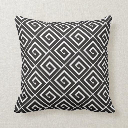 Black Greek Spirals Pillow