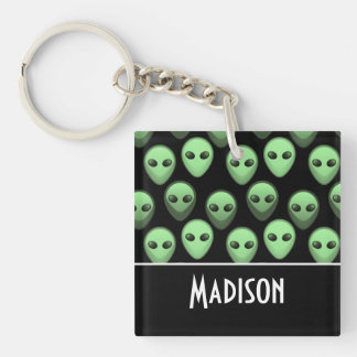 Black & Green Alien Double-Sided Square Acrylic Keychain