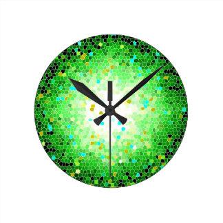 Black Green and Gold Crystal Mosaic Wall Clock