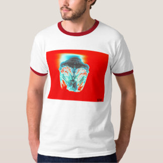 Black Green and Red Cicada On Red Background-fa... T-shirt