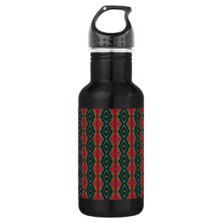 Black, Green and Red Diamonds Water Bottle