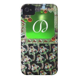 BLACK GREEN  ART NOUVEAU GEMSTONE MONOGRAM Emerald iPhone 4 Case-Mate Case