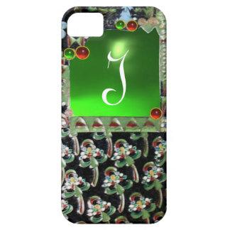 BLACK GREEN  ART NOUVEAU GEMSTONE MONOGRAM Emerald iPhone 5 Cover