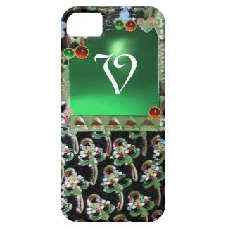 BLACK GREEN  ART NOUVEAU GEMSTONE MONOGRAM Emerald iPhone 5 Covers