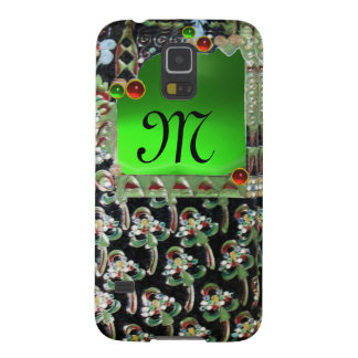 BLACK GREEN  ART NOUVEAU GEMSTONE MONOGRAM Emerald Galaxy S5 Cover