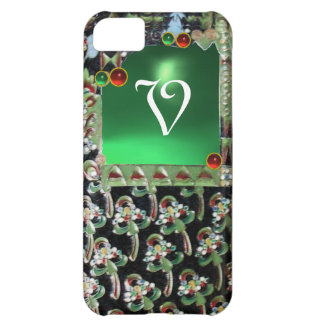 BLACK GREEN ART NOUVEAU GEMSTONE MONOGRAM Emerald Case For iPhone 5C