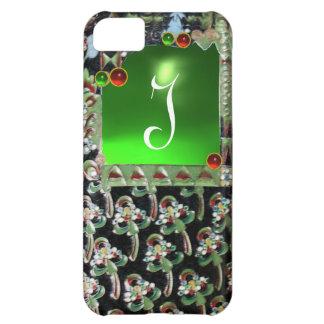 BLACK GREEN ART NOUVEAU GEMSTONE MONOGRAM Emerald Cover For iPhone 5C
