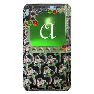 BLACK GREEN  ART NOUVEAU GEMSTONE MONOGRAM Emerald iPod Case-Mate Case