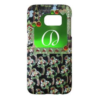 BLACK GREEN  ART NOUVEAU GEMSTONE MONOGRAM Emerald Samsung Galaxy S7 Case