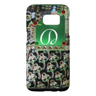 BLACK GREEN ART NOUVEAU GEMSTONE MONOGRAM, Jade Samsung Galaxy S7 Case