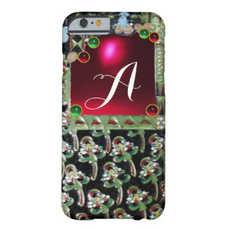 BLACK GREEN ART NOUVEAU GEMSTONE MONOGRAM,Red Ruby Barely There iPhone 6 Case
