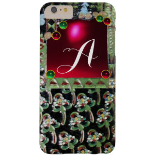 BLACK GREEN ART NOUVEAU GEMSTONE MONOGRAM,Red Ruby Barely There iPhone 6 Plus Case