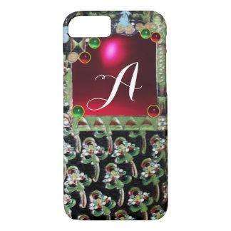 BLACK GREEN ART NOUVEAU GEMSTONE MONOGRAM,Red Ruby iPhone 7 Case