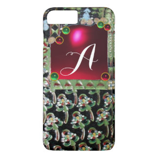 BLACK GREEN ART NOUVEAU GEMSTONE MONOGRAM,Red Ruby iPhone 7 Plus Case