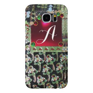 BLACK GREEN ART NOUVEAU GEMSTONE MONOGRAM,Red Ruby Samsung Galaxy S6 Case