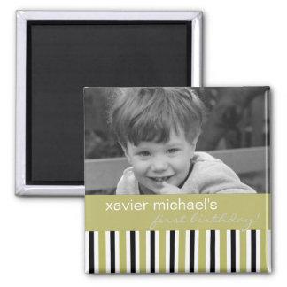 Black & Green Birthday Photo Magnet