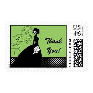 Black & Green Bride Thank You Bridal Shower Postage