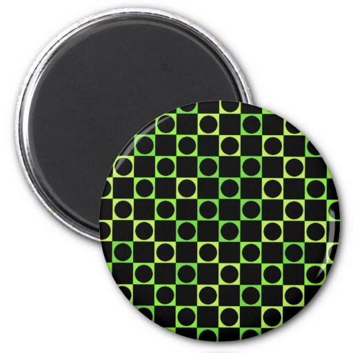 Black & Green, Checkers & Circles 2 Inch Round Magnet