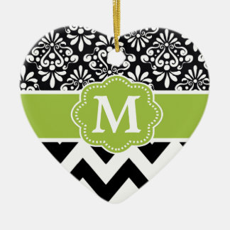 Black Green Chevron Personalized Ceramic Ornament