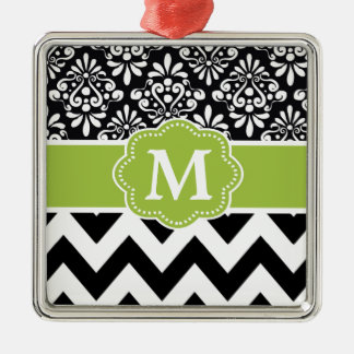 Black Green Chevron Personalized Metal Ornament