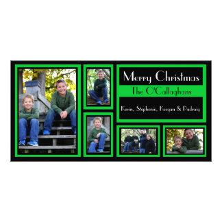 Black & Green Christmas Card - 5 Photos Photo Card