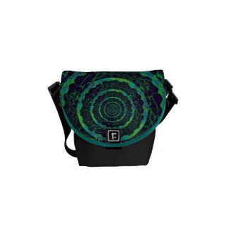 Black & Green Circles Small Messenger Bag