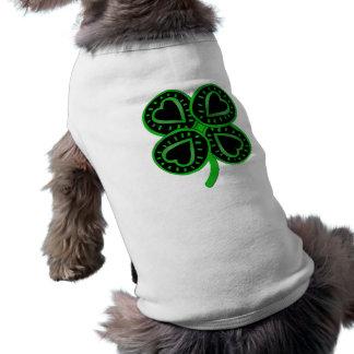 Black Green Clover Heart St Patrick Pets Shirt