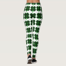 Black Green Clover Heart St Patrick's Day Leggings