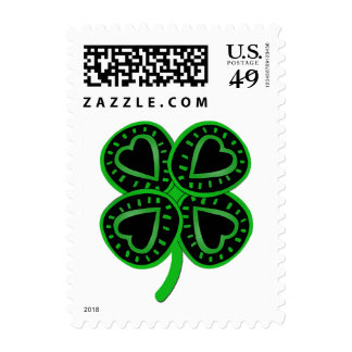 Black Green Clover Heart St Patty's Day Postage
