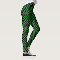 Black Green Clover Shamrock Irish St Patricks Day Leggings