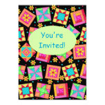 Black Green Colorful Patchwork Quilt Block Art 5x7 Paper Invitation Card