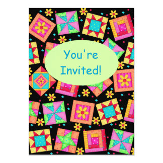 Black Green Colorful Patchwork Quilt Block Art 5x7 Paper Invitation Card