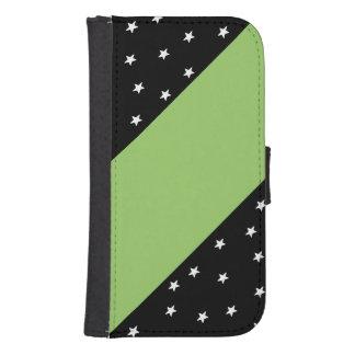 Black&Green con las estrellas y la caja del Fundas Billetera Para Teléfono
