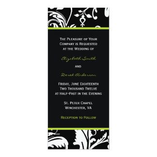 Black & Green Contemporary Damask Invitation Skinn
