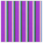 [ Thumbnail: Black, Green, Cornflower Blue, Pink & Dark Violet Fabric ]