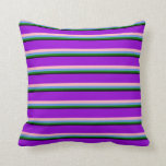 [ Thumbnail: Black, Green, Cornflower Blue, Pink & Dark Violet Throw Pillow ]