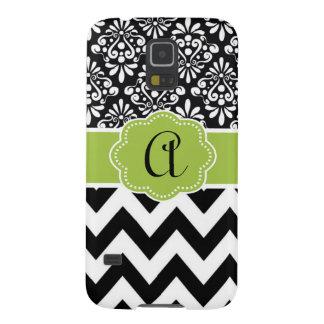 Black Green Damask Chevron Monogram Galaxy S5 Case