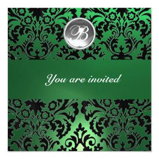 BLACK & GREEN DAMASK GEM STONE MONOGRAM white ice 5.25x5.25 Square Paper Invitation Card