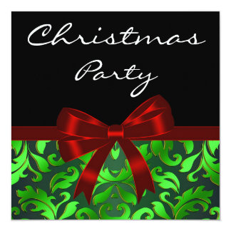 Black Green Damask Red Bow Christmas Party Card